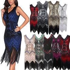 sequin dress, Tassels, Vintage, vintagedresses1950