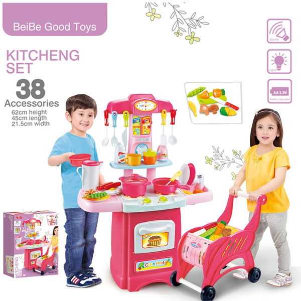 Children S Toys Electronic Kitchen Set And Shopping Cart Cutlery Combination Set Wish