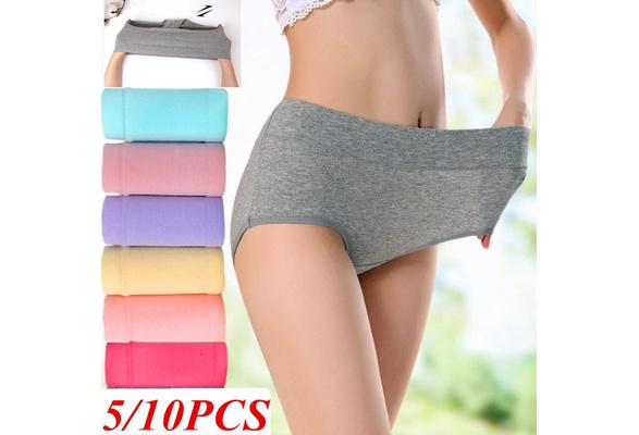 Womens High Waist Soft Underwear Cotton Panties Regular/& Plus Size Briefs 5 Pack