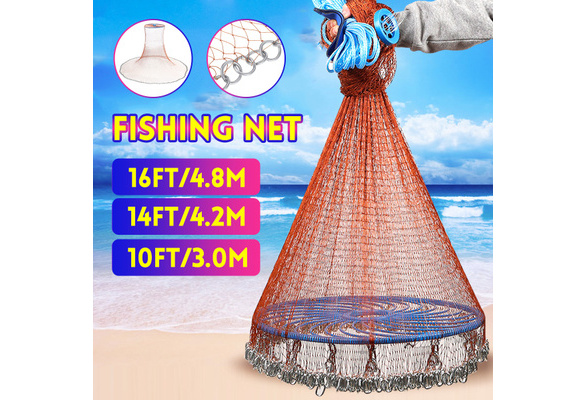 16FT Hand Cast Fishing Net Easy Throw Bait Strong Tire Line Mesh with Sinker NEW