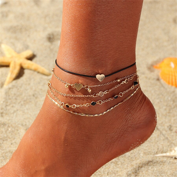 Heart, goldenanklet, Jewelry, Love