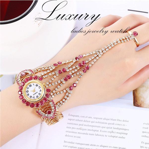Montre Femme Luxury Rhinestone Gemstone Design Ladies Ring Bracelet Watch Ladies Fashion Dress Wedding Party Wrist Watch Women Classy Watches Girl Gift Geek