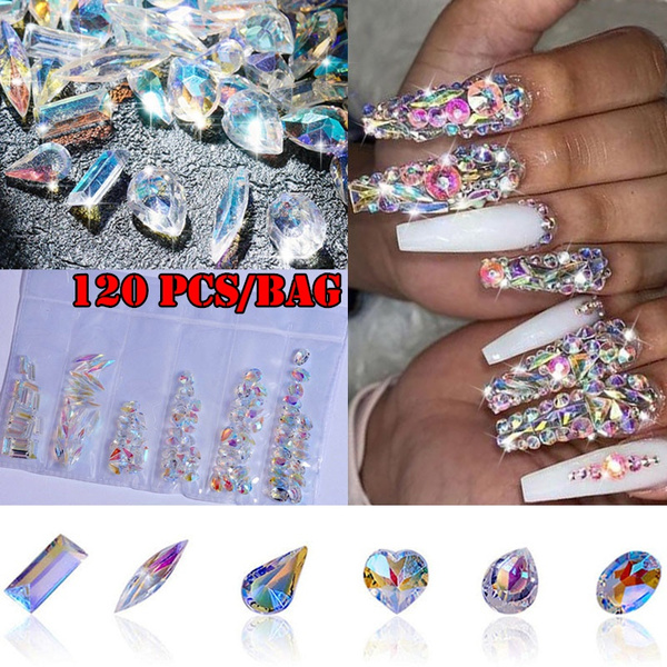 120pcs Pack Crystal Nail Diamonds Ab Diamond Nail Art Decorations Stone Rhinestones For Nails Wish