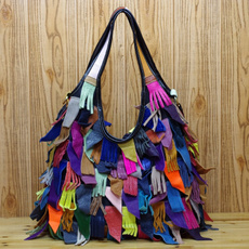 Shoulder Bags, Tassels, Vintage, Casual bag