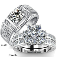 Couple Rings, Heart, DIAMOND, zirconring