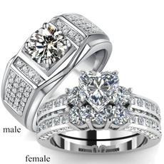 Couple Rings, Heart, DIAMOND, zirconring