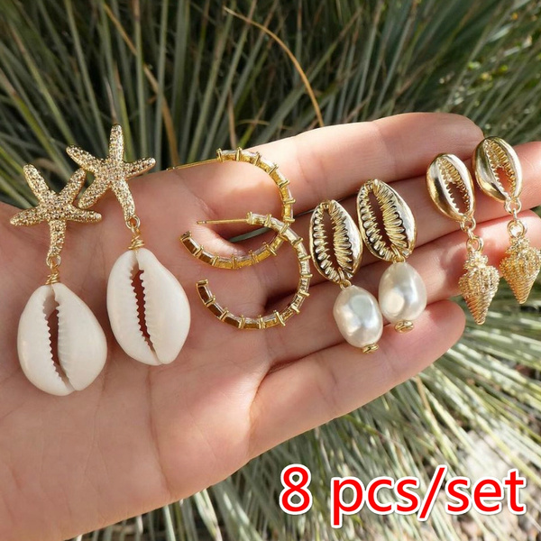 shells, Star, Pearl Earrings, vintage earrings