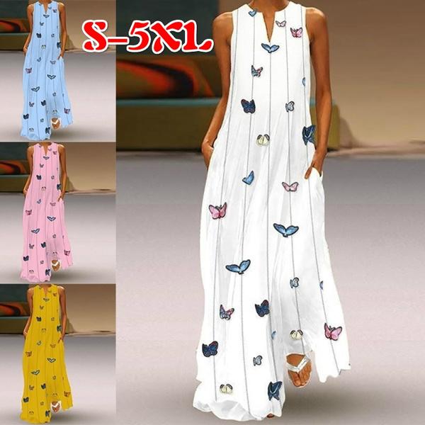 butterfly, Sleeveless dress, dressesforwomen, vestidoslongo