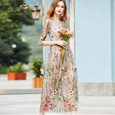 Flowers, Vintage, Dress, 2piecesbohemiandresse