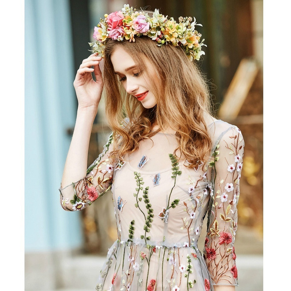 Flowers, Vintage, Dress, 2piecesbohemiandresse