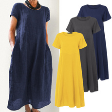 short sleeve dress, Cotton, Necks, solidcolordres