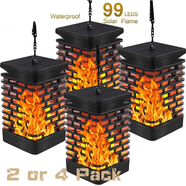 Solar Flame Hanging Lantern Outdoor Lights IP55 WATERPROOF 99 Bright LEDs 2 Pack