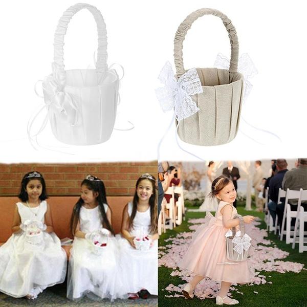 weddingflowerbasket, bowknot, Ivory, weddingbasket