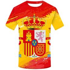 spainflag, shortshirt, Shorts, Sleeve