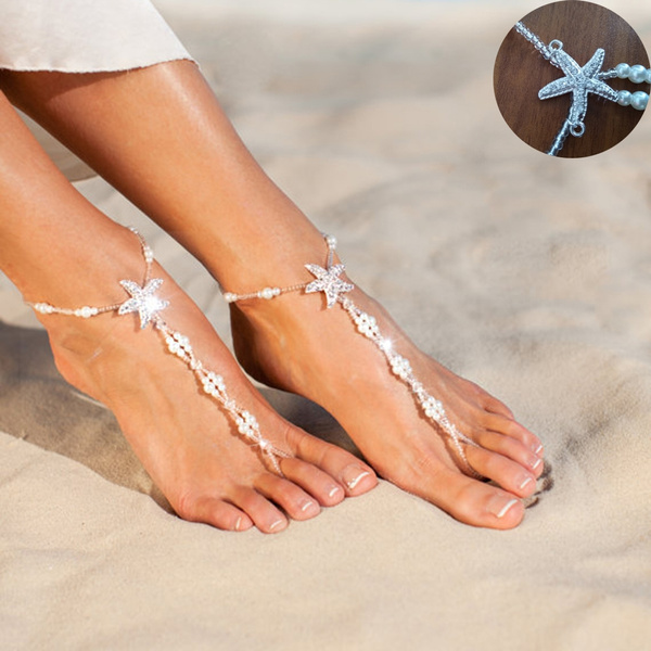 Sandals, barefoot, Anklets, Chain