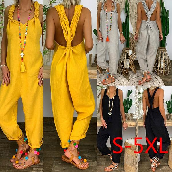 Cotton, Plus Size, casuallongpant, jumpsuitsplaysuit