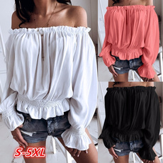 Summer, flaresleeveblouse, Long Sleeve, Plus size top