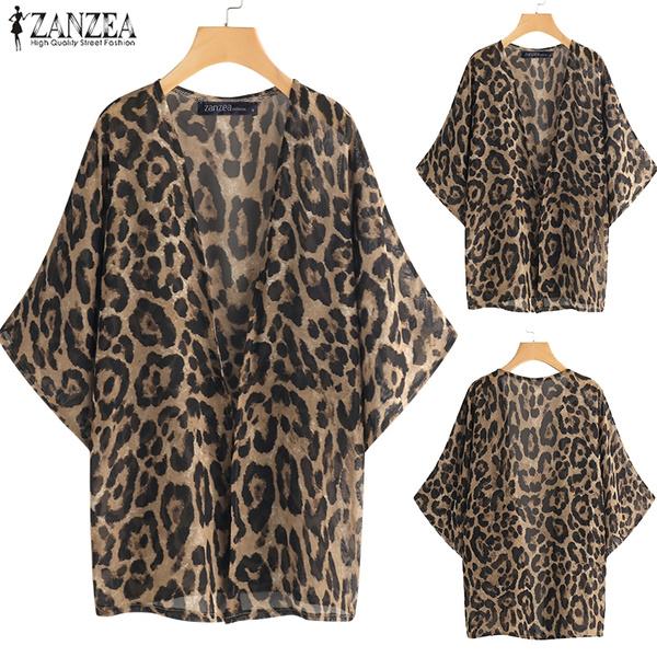 Summer, Plus Size, chiffon, leopard print