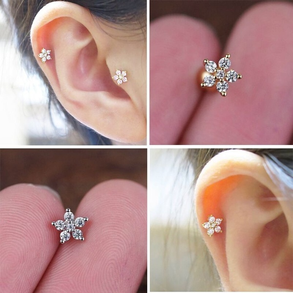 Flowers, conchearring, gold, cartilage earrings
