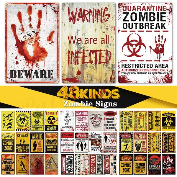 "Zombies Crossing Xing 12/"" Aluminum Metal Sign Fun Halloween Prank Embossed Decor"