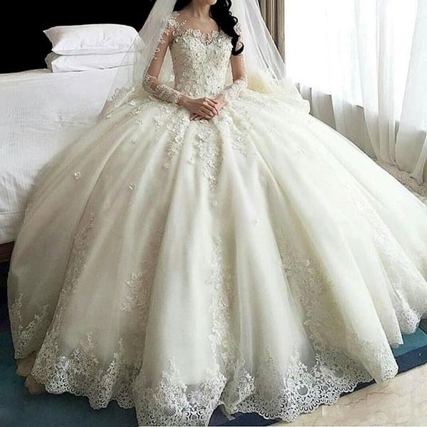 princess dress, Lace, Sleeve, Long Sleeve