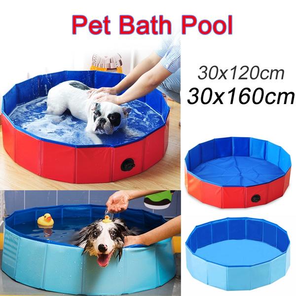 New-wish Foldable Dog Pool Pet Bathing Tub,Paddling Pool For Kids,Dog Bath Pool Bathtub Non-Slip Children Ball Pits Kids Paddling Bathing Pool For Garden Patio Bathroom M 80 * 20CM