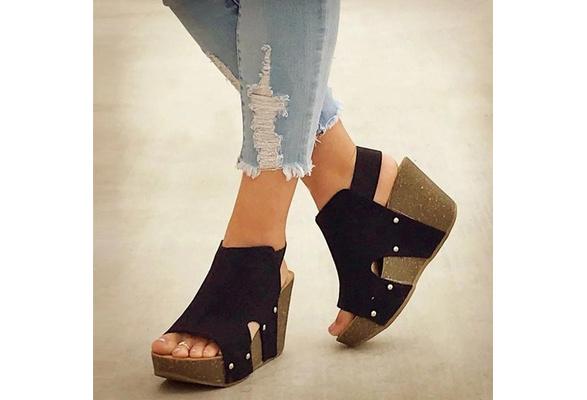 Heel Blocking Hook-Loop Sandals Ladies