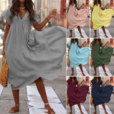 Summer, Plus Size, solidcolordres, Dress