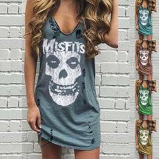 Fashion, short dress, letter print, Dress