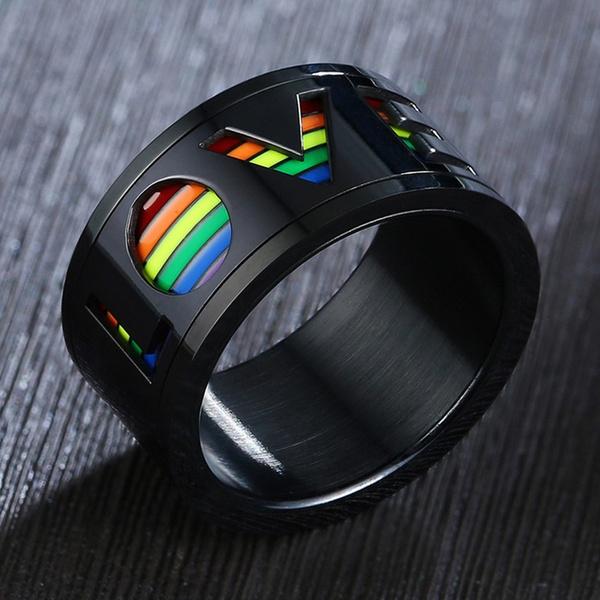 rainbow, Love, wedding ring, Colorful