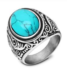Blues, Steel, wedding ring, retro ring