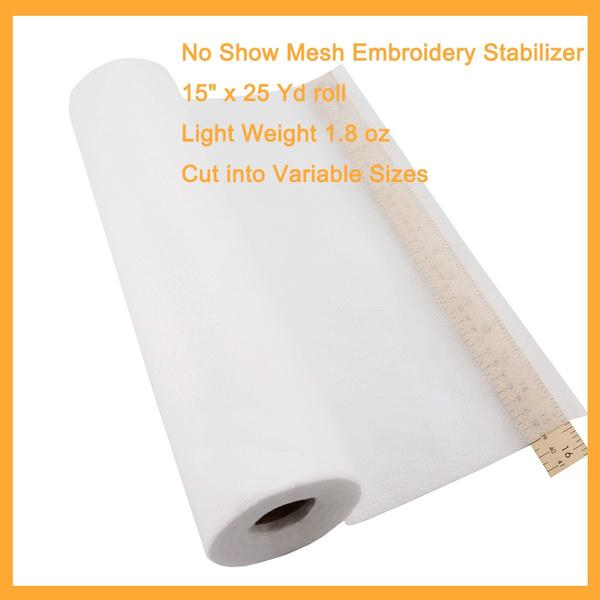 "New Brothread No Show Mesh Machine Embroidery Stabilizer Backing 15/"" X 25 Yd Rol"