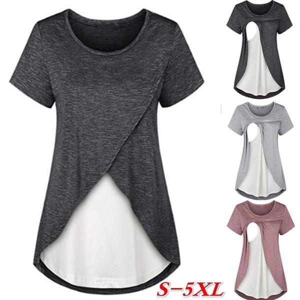 New Women S Comfortable Layered Nursing Tops Maternity Breastfeeding Mother T Shirt Plus Size Wish