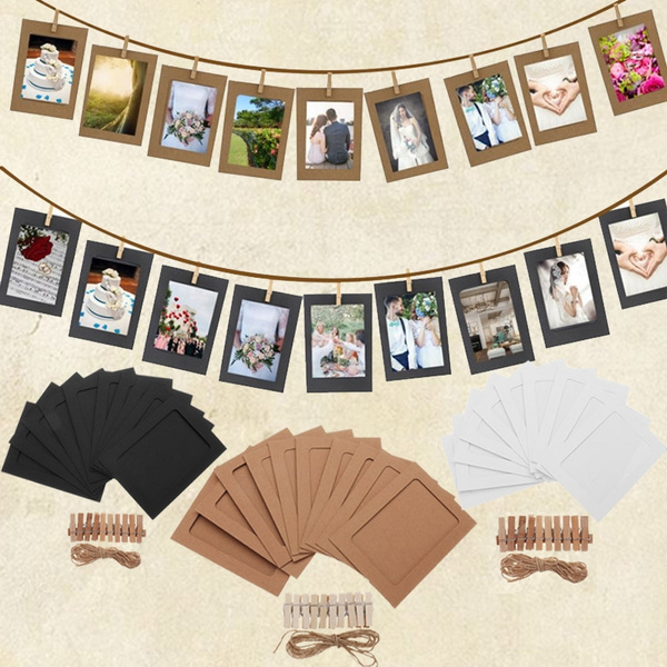 DIY Photo Frame Paper Picture Wall Rope Clip Decoration Weeding Supplies SL