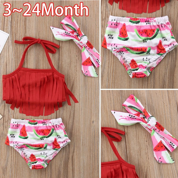 Summer Toddler Kids Baby Girls Tassel Watermelon Print Swimwear Swimsuit Bikini