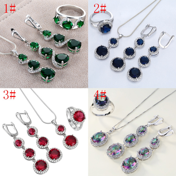 Fashion 925  Silver Sapphire Rubby Pendant For Necklace Earring Jewelry