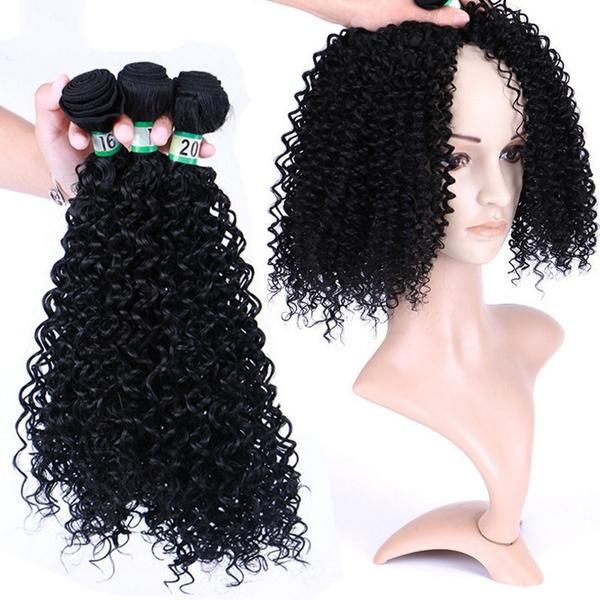 wig, blackcurlywig, Fiber, Curly Hair