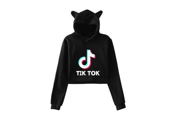 Tik Tok Women girls Hoodie Long Sleeve Cat Ears Jumper Hoody Crop Top Sweatshirt