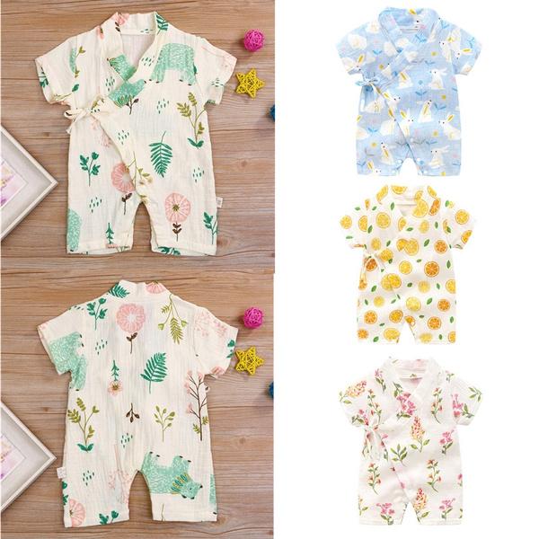 gauzekimono, newbornsleepwear, short sleeves, V-neck