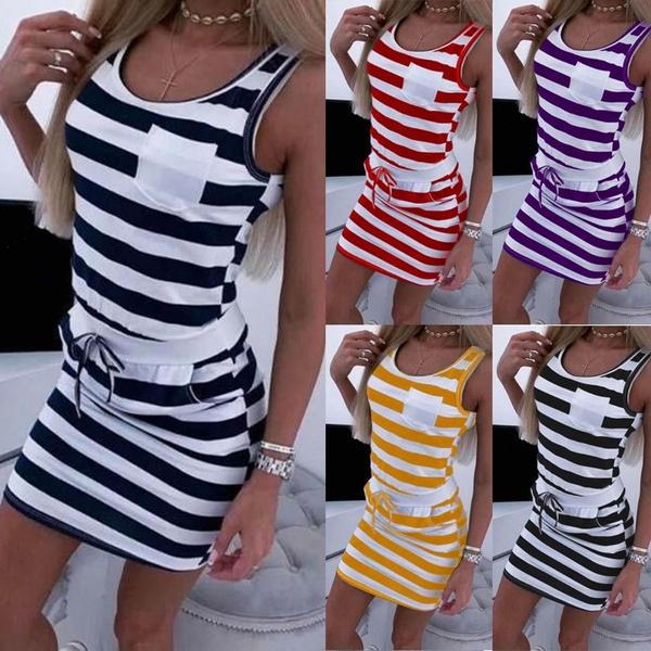 Summer, stripedre, vest dress, Tunic dress