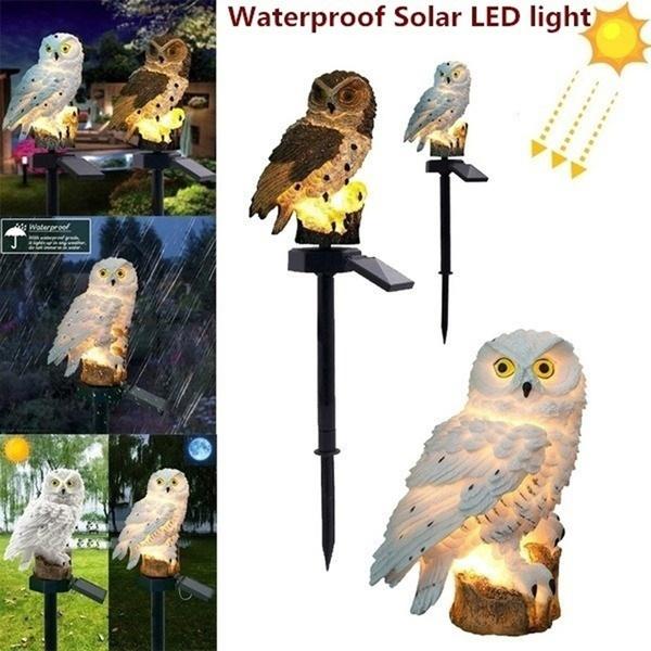 LED Owl Solar Powered Garden Light Outdoor Lawn Statue Waterproof Novelty Lamp