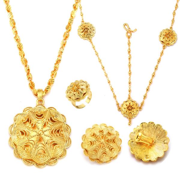 party, Flowers, Jewelry, 4pcsjewelryset