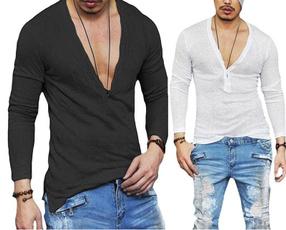 Deep V-Neck, slim, Shirt, Sleeve