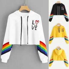 rainbow, Fashion, Hoodies, letter print