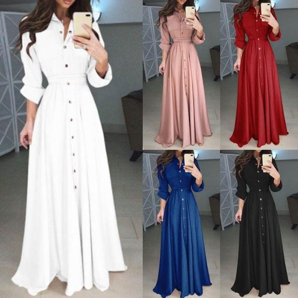 slim, long dress, Long sleeved, Pure Color