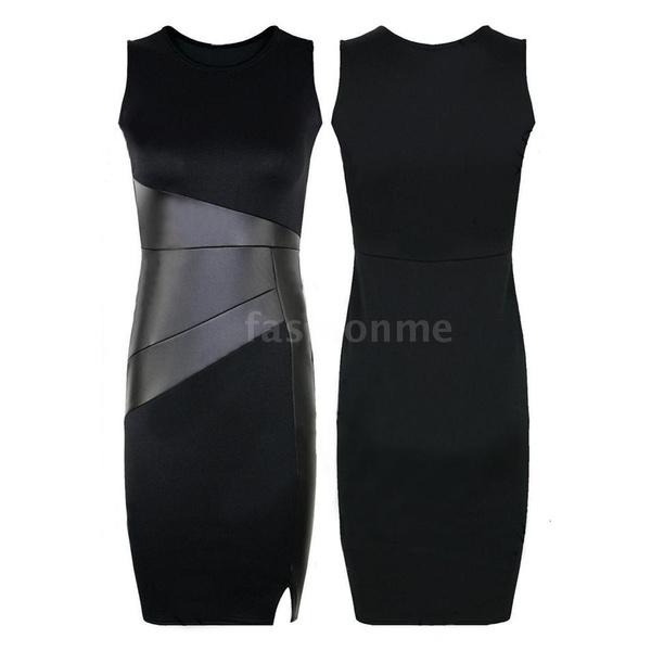 Sleeveless dress, frontslit, Dress, slim