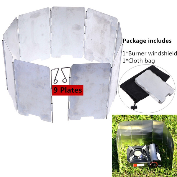 9 Plate Foldable Burner Windshield Outdoor Camping Cooking Gas Stove Wind Shi A!