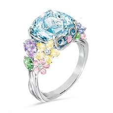 squareprincessring, Women, crystal ring, wedding ring