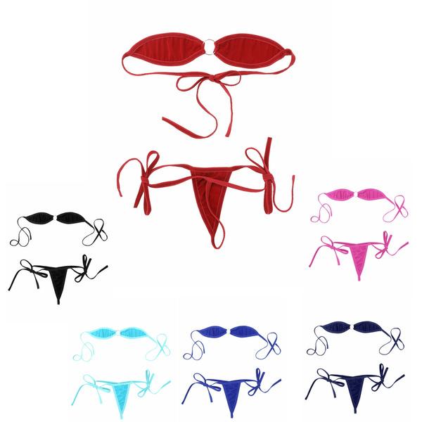 Herencia rastro temor  Mini Micro Bikini Set Off the Shoulder Bra Top with G-String Briefs  Underwear for Women | Wish
