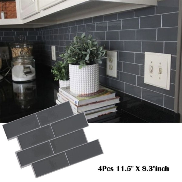 Grey Brick Subway Tile Peel And Stick Backsplash Kitchen Subway Contact Paper Wall Decals Self Adhesive Diy Home Wallpaper Wish